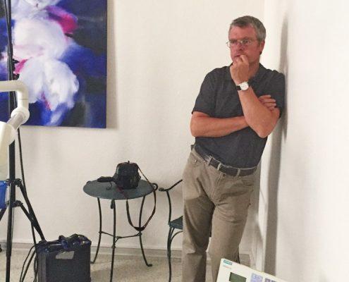 Martin weinbrenner beim Fotoshooting Praxisteam Dr. Gerhard Fischer, Karlsruhe-Durlach